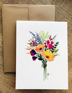Hand-painted greeting cards with flowers - Products flowers illustration Watercolor Cards, Watercolour Painting, Floral Watercolor, Painting & Drawing, Painting Flowers, Simple Flower Painting, Flower Paintings, Flowers To Paint, Drawing Flowers