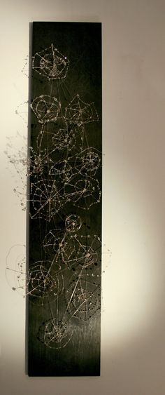 SPIDERWEBS Black wood board and metal wire with Swarovsky crystals. 200x40x10 cm.