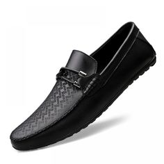 Online Shop New Luxury Brand Men Driving Shoes Slip-On Metal Horsebit Casual Men Genuine Leather Moccasins Loafers Boat Shoes Suede Shoes, Loafer Shoes, Men's Shoes, Dress Shoes, Wing Shoes, Male Shoes, White Slip On Shoes, White Flats, Best Shoes For Men