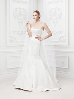Truly Zac Posen Satin Fit and Flare Gown with Pearl Detail Style ZP345008 #davidsbridal #weddingdresses