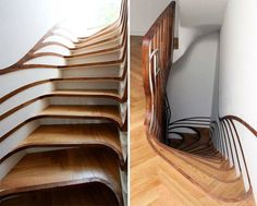 Staircase Design by atmos studio Wooden Staircase Design, Wood Staircase, Wooden Stairs, Modern Staircase, Stair Design, Spiral Staircases, Interior Architecture, Interior Design, Staircase Architecture