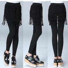 Women Winter Warm Black Lace Skirt Dress Pants Leggings Bodycon Mini Skirt Short | eBay