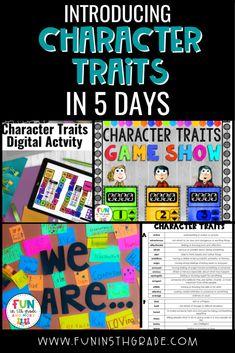 Negative Character Traits, Character Traits List, Character Traits Activities, 4th Grade Games, 4th Grade Activities, Teaching Plot, Student Teaching, Jungle Theme Classroom, Ela Classroom