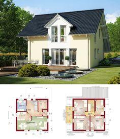 Klassisches Einfamilienhaus mit Satteldach Architektur & Carport - Grundriss Haus Celebration 125 V2 Bien Zenker Fertighaus Ideen - HausbauDirekt.de