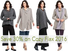 Sale for Tuesday, January 10, 2016 SAVE 30% off on Cozy FLAX 2016. Shop online at www.fgclothing.co/tuesdays-deal/