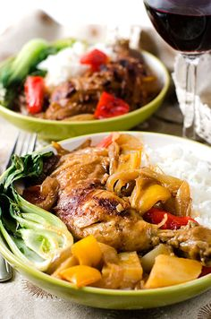 African Chicken - The chicken is baked to a beautiful char, then braised in a sweet, savory sauce of peanut, coconut and peppers | omnivorescookbook.com