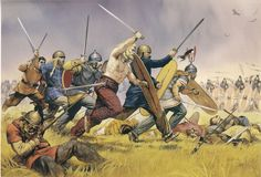 Celts charge the Roman lines - art by Angus McBride