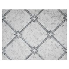 UNIQUE MOSAIC TILE PATTERNS - Rothchild's Grid Pattern Mosaic in Bianco Carrara & Mugwort Grey-Green Polished Finish. This mosaic can be installed on the diagonal or in a straight square configuration. Complete Tile Collection MI#: 268-S2-400-817 #CarraraMosaic