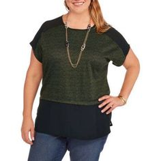 Plus Size Concepts Women's Plus Mixed Texture Knit Top with Georgette Inset, Size: 2XL, Multicolor