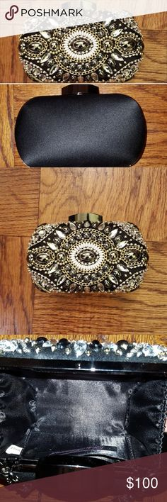 🆕️NWOT Diamond & Pearl Glam Clutch This beautiful Glam clutch was hand-selected by one of our WeStileU Stylists (as are all of our items) for a top client. It is brand new (w/o tags), both sexy & classy. Diamonds, gold, pearls/beads w/ satin back finish. Dress up/ down. No matter where you wear it, you'll be in the Fashionista Lane!  Need help styling it? No problem! After your purchase, we will provide you w/ info on how to set up a free consultation w/ one of our professional Stylists…
