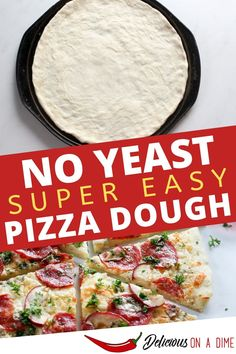 This easy, no rise pizza dough recipe from Delicious on a Dime is fast to make and does not require any yeast! Turn a few pantry staple ingredients into a thin pizza crust, add any toppings you want, and enjoy! This recipe is simple enough for a weeknight dinner, or you can make it ahead of time and freeze it for the next time you're craving pizza at home. Bonus - it's way cheaper than delivery! #deliciousonadime No Rise Pizza Dough, No Yeast Pizza Dough, Thin Crust Pizza, Cheap Recipes, Cheap Meals, Quick Recipes, Pizza Recipes, Fast Dinner Recipes, Fast Dinners