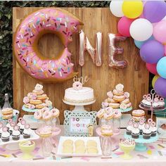 Donut Balloons Balloon Garland Kids Party Donut Party pertaining to Incredible First Birthday Party Ideas Donut Party, Donut Birthday Parties, Birthday Ideas, Birthday Desserts, Birthday Themes For Kids, 1st Birthday Balloons, First Birthday Cupcakes, Dessert Table Birthday, Birthday Garland