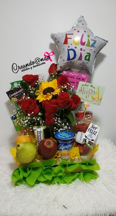 Creative Gift Baskets, Creative Gifts, Unique Gifts, Homeade Gifts, Diy Gifts, Diy Birthday Box, Balloon Bouquet, Birthday Decorations, Ladybug