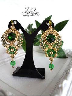 Oriental Gold Green Beaded Earrings With Swarovski Pearls