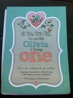 Birdie Birthday Invitation from Fresh Baked Designs on Etsy.com