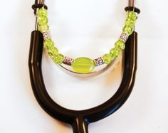 Check out Women's Beaded Stethoscope ID Tag Pendant Charm  Jewelry Accessories Lime Green with Silver Accents on dunglebees
