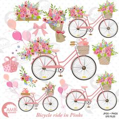 80%OFF Wedding Bicycle clipart Bicycle clipart от AMBillustrations