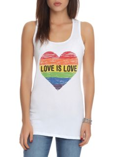 "White+racer+back+tank+top+with+rainbow+stripe+heart+design+that+reads+""Love+Is+Love."""