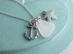 Sea Glass Necklace Starfish Necklace Anchor by HandStampedbyJoanna, $27.50