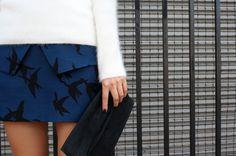 Skirt//TIBI, clutch//YVONNE KONE, shoes//3.1 PHILLIP LIM, sweater//H, ring//MARIA BLACK