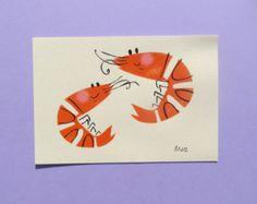 Set of 4 VW Illustrated Postcards & envelopes
