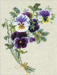 Riolis Bunch Of Pansies Flowers - Cross Stitch Kit. This cross stitch kit contains 14 count flaxen evenweave fabric for cross stitch, Safil wool/acrylic threads Hand Embroidery Patterns, Embroidery Kits, Cross Stitch Embroidery, Embroidery Needles, Embroidery Designs, Cross Stitch Designs, Cross Stitch Patterns, Brazilian Embroidery Stitches, Counted Cross Stitch Kits