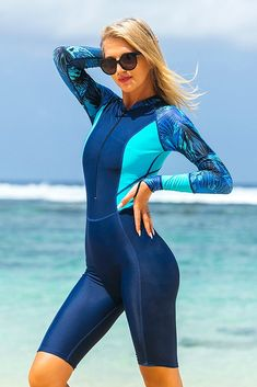 Sbart New One-piece bodysuit athing suit female printing dry diving suit long-sleeved surfing Uv protection Prevent jellyfish Women's One Piece Swimsuits, Women Swimsuits, Full Body Swimsuit, Swimsuit Fabric, Fitted Jumpsuit, Womens Wetsuit, One Piece Suit, Clothes For Women, Swimwear