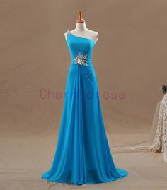 long one shoulder blue fishtail prom dress slim chiffon evening prom dresses cheap formal gowns for evening with rhinestones