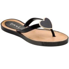 Black heart sandals. Fun twist to classic sandals• Black heart with gold detail• Slip on• New in box. Shoes Sandals
