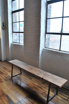 Modern reclaimed wood Bench with square steel by UrbanWoodGoods