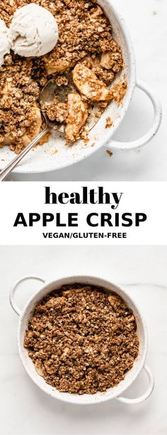 This healthy apple crisp is easy to make, vegan and gluten-free! A healthy apple crisp that is super simple to make. Say hello to your new favourite dessert! Vegan Apple Crisp, Apple Crisp Recipes, Healthy Apple Crumble, Gluten Free Apple Crisp, Gluten Free Crisps, Vegan Gluten Free, Healthy Desserts, Healthy Recipes, Desserts Sains