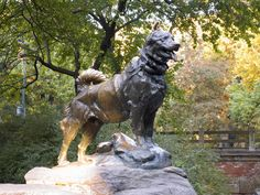 Central Park - NYC - East Drive at 67th Street. It was sculpted in 1925 by Frederick George Richard Roth to honor Balto the heroic Alaskan sled dog. (Balto sat and stood for the statue.) The plaque reads: 'Dedicated to the indomitable spirit of/The Sled Dogs/That relayed antitoxin 600 miles over rough ice/ across treacherous waters. Through arctic blizzards from/Nenana to the relief of stricken Nome in the/ Winter of 1925/ Endurance-Fidelity-Intelligence.'     Tour Central Park on our iPad tour