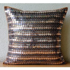 Handmade Brown Pillow Cases 16x16 Silk Pillows by TheHomeCentric