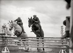 Pairs jumping, horse show, 1919. reminds me of me and my best friend