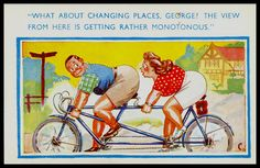 Vintage 1940 signed Comic Postcard BBW Cycling bicycle tandem Rear View theme