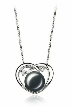 PearlsOnly Katie Heart Black 9.0-9.5mm AA Freshwater Sterling Silver With Rhodium Plated Cultured Pearl Pendant PearlsOnly. $65.00