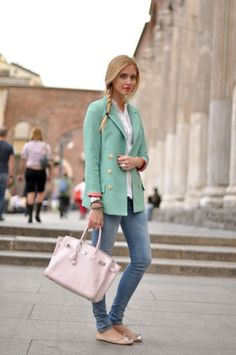 Mint color coat and jeans