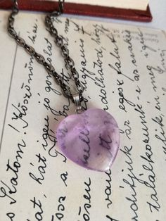 Amethyst  Heart necklace , Heart Necklace , gift for her, natural amethyst stone necklace, valentines day gift. bustani by BUSTANI on Etsy