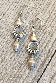 Silver drop earrings, ethnic earrings, tribal jewelry, silver jewelry