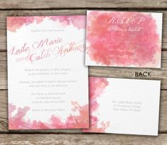 Watercolor Wedding Invitation and RSVP - DIY, Printable, Hand Lettering, Typography, Couples or Bridal Shower, Baby Shower, Engagement Party...