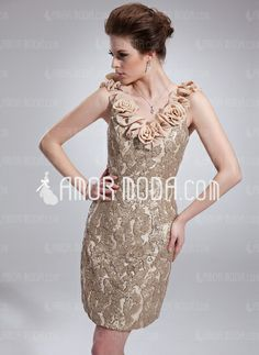 Special Occasion Dresses - $190.99 - Sheath V-neck Short/Mini Chiffon Charmeuse Sequined Cocktail Dress With Flower(s) (016019541) http://amormoda.com/Sheath-V-neck-Short-Mini-Chiffon-Charmeuse-Sequined-Cocktail-Dress-With-Flower-S-016019541-g19541