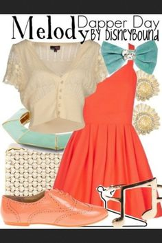Disney Bound: Dapper Day - Melody (The Little Mermaid Return To The Sea) Disney Themed Outfits, Disney Bound Outfits, Disney Dresses, Disney Clothes, Estilo Disney, Casual Cosplay, Cosplay Outfits, Cosplay Ideas, Dapper Day Outfits