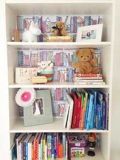 transform a bookcase with wallpaper, a simple DIY project for a kid's room #decor #interior