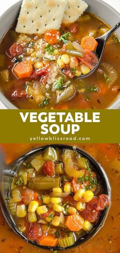 Vegetable Soup is savory, hearty and filling comfort food. At around 100 calories a bowl, it's good for you, too! Customize with your favorite vegetables. soup The Best Vegetable Soup Best Vegetable Soup Recipe, Vegetable Soup Crock Pot, Vegetable Soup Healthy, Healthy Vegetables, Heart Healthy Soup, Healthy Chicken, Veggies, 100 Calories, Healthy Soup Recipes