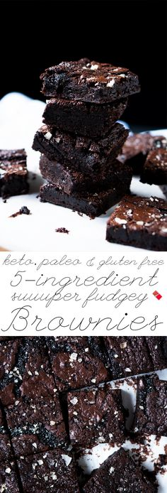 These paleo and keto brownies are extra fudgy, super easy, just 5 ingredients and 1g net carbs a pop! Now that's what we call ideal!  🍫 #ketobrownies #paleobrownies