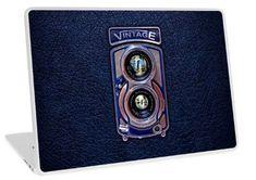 Classic Blue Silver Chrome Double lens camera Laptop Skins #laptop #skin #case #photography #polaroid #camera #lens #steampunk #classic #oldschool #retro #vintage #black #digitalmanipulation #cool