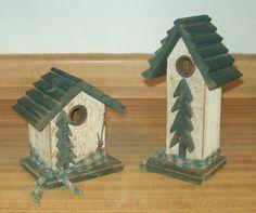 Set 2 Primitive Wood Decorative Bird Houses Country/Folk   eBay
