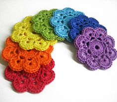 Handmade Crocheted Flower Appliques Motifs in rainbow shades or choose your color 7 pc, 2 inches