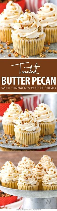Toasted Butter Pecan Cupcakes with Cinnamon Buttercream - moist vanilla cupcakes studded with toasted butter pecans and topped with cinnamon buttercream frosting Frosting Recipes, Cupcake Recipes, Buttercream Frosting, Cupcake Cakes, Dessert Recipes, Pecan Recipes, Fall Recipes, No Bake Desserts, Just Desserts
