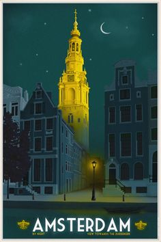 Travelposter of Amsterdam - Zuidertoren by Night